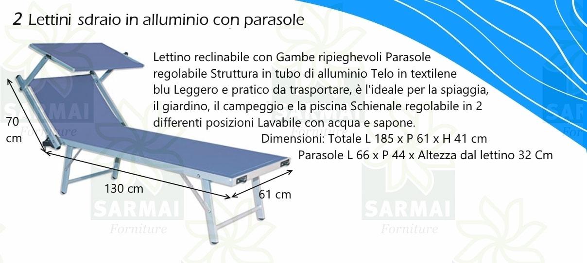 2 lettini sdraio alluminio piscina mare spiaggia giardino - Lettino da mare prendisole per spiaggia giardino in ...