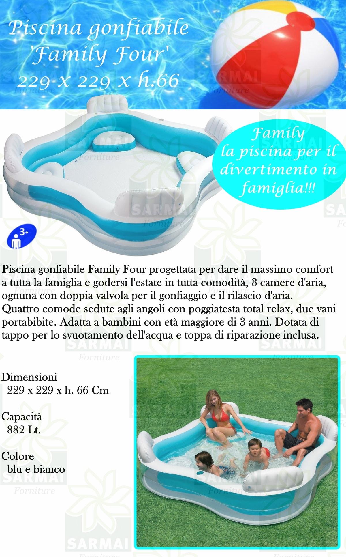 Intex 56475 piscina gonfiabile cm 229x229 family con 4 sedute for Sedute per piscine