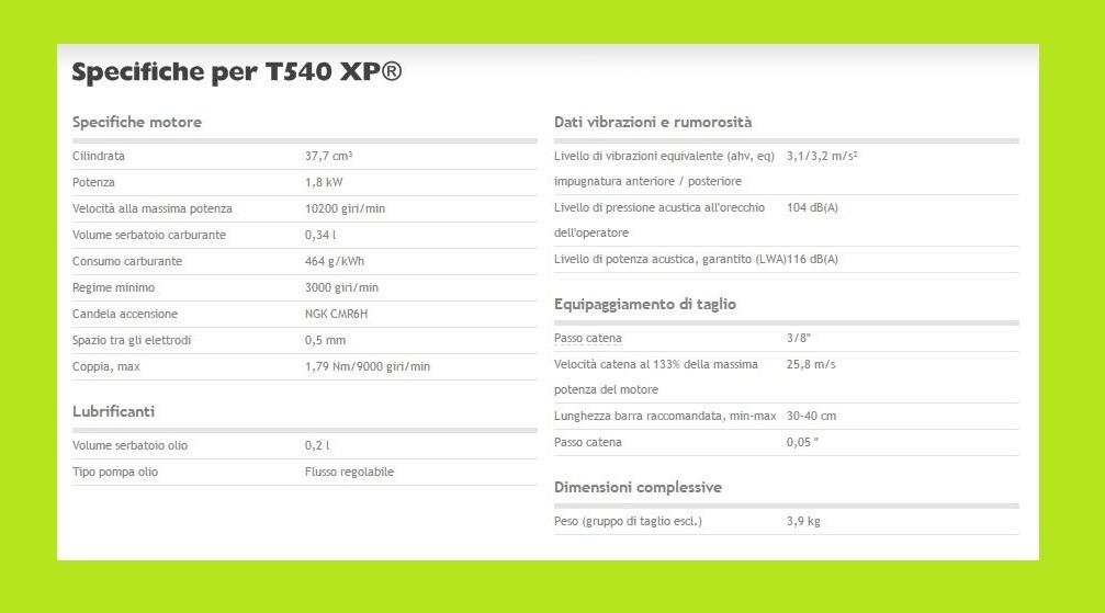 HVA T540 XP specifiche tecniche