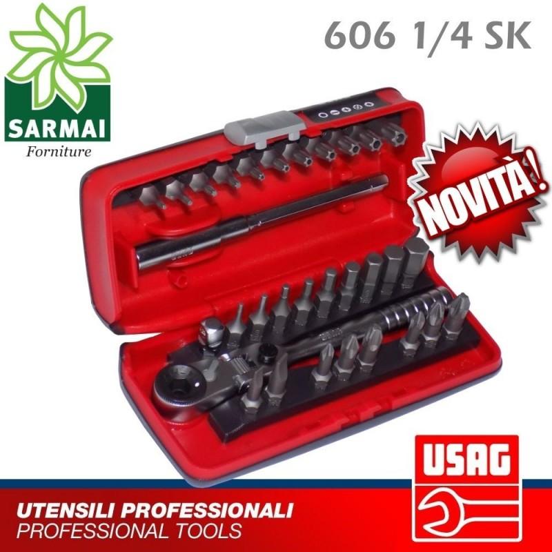 USAG 606 1/4 SK ASSORTIMENTO 31 Pz INSERTI CON CRICCHETTO REVERSIBILE SNODATO