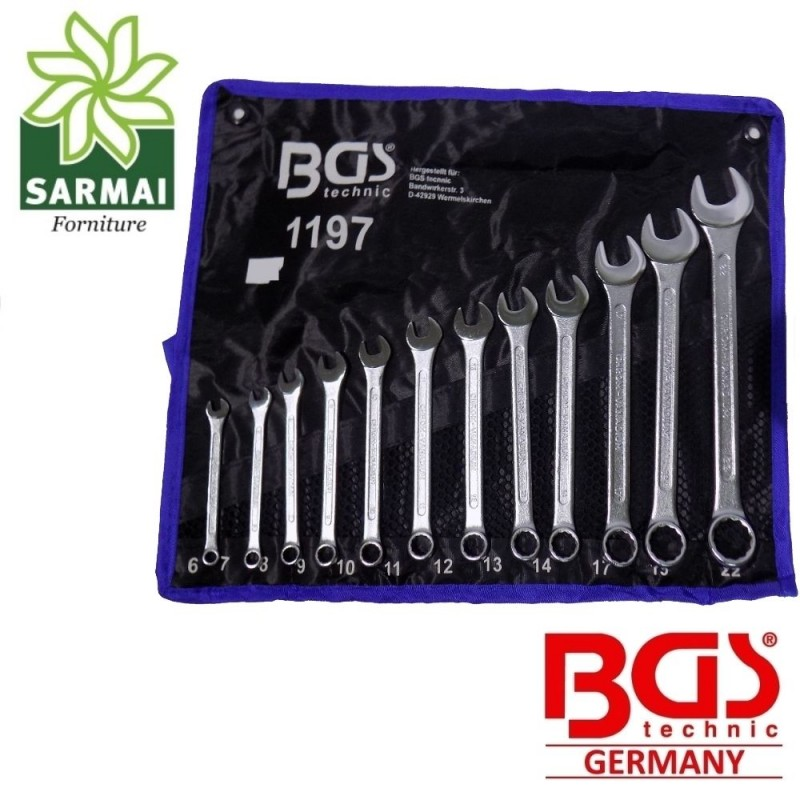 Set chiavi combinate 12 pz CHROME VANADIUM professionale fissa e stella BGS 1197