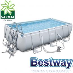 Bestway 56441 piscina fuori terra rettangolare 404x201x100 cm con pompa e scaletta