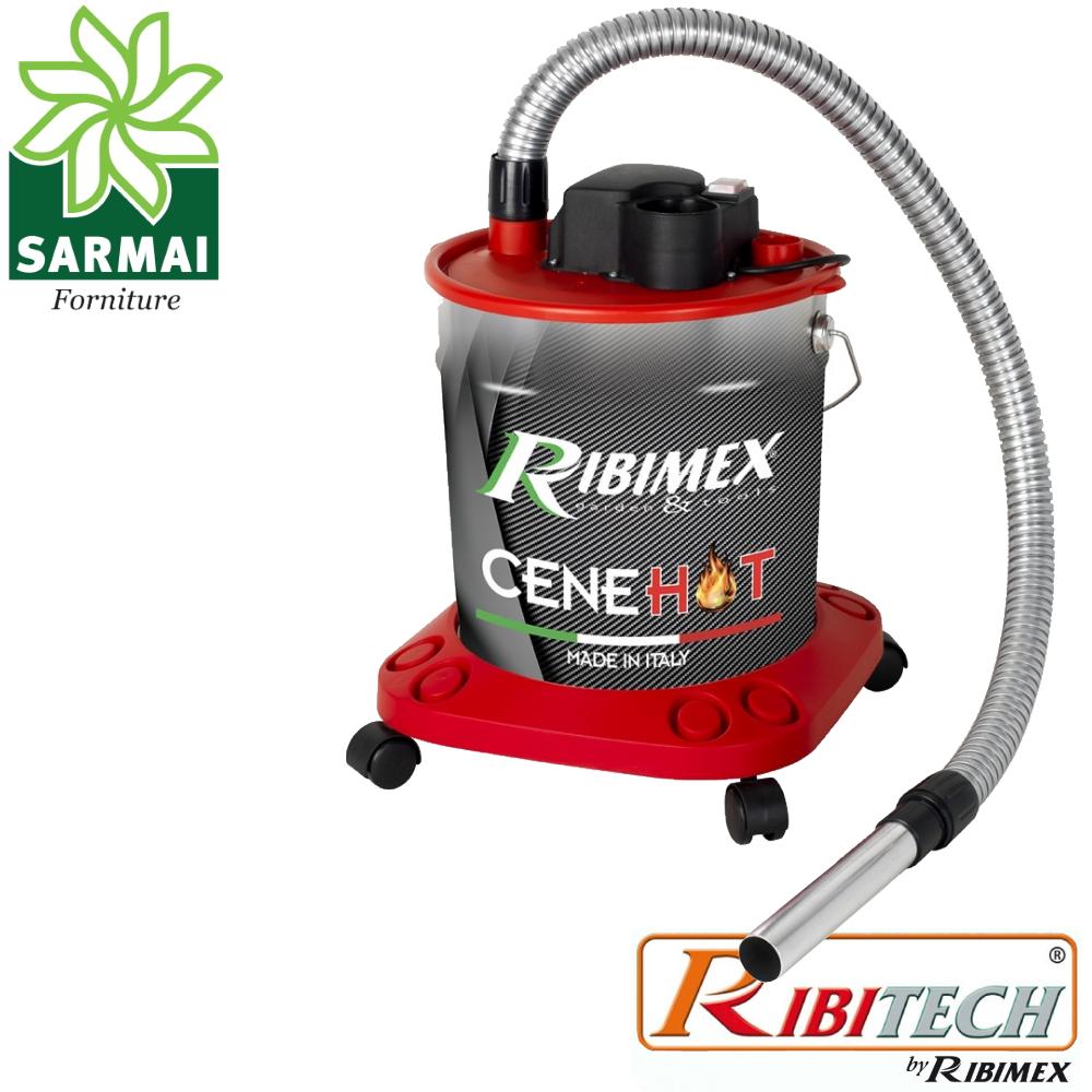 CeneHot Bidone aspiracenere calda ceneri 950W per camino stufa + soffiatore + carrello