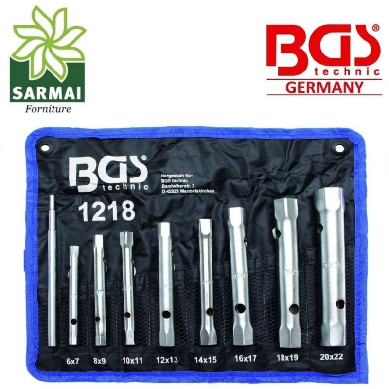 Set 8 chiavi a TUBO ESAGONALI con CUSTODIA DOPPIE 6-22 mm BGS 1218