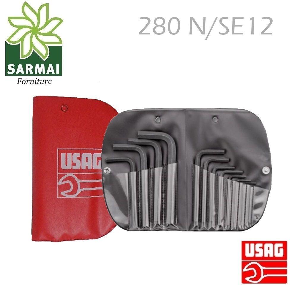 Usag 280 N/SE12 Kit Serie di 12 chiavi maschio esagonale in custodia