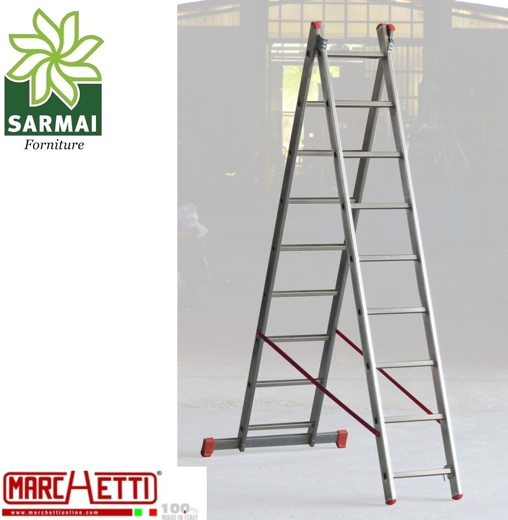 Scala TRASFORMABILE a sfilo in alluminio MARCHETTI 2 elementi 7+7 piolo 28 mm