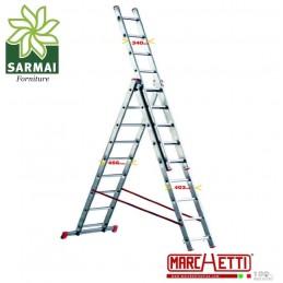 Scala TELESCOPICA a sfilo alluminio MARCHETTI 3 elementi 12 gradini piolo 28 mm