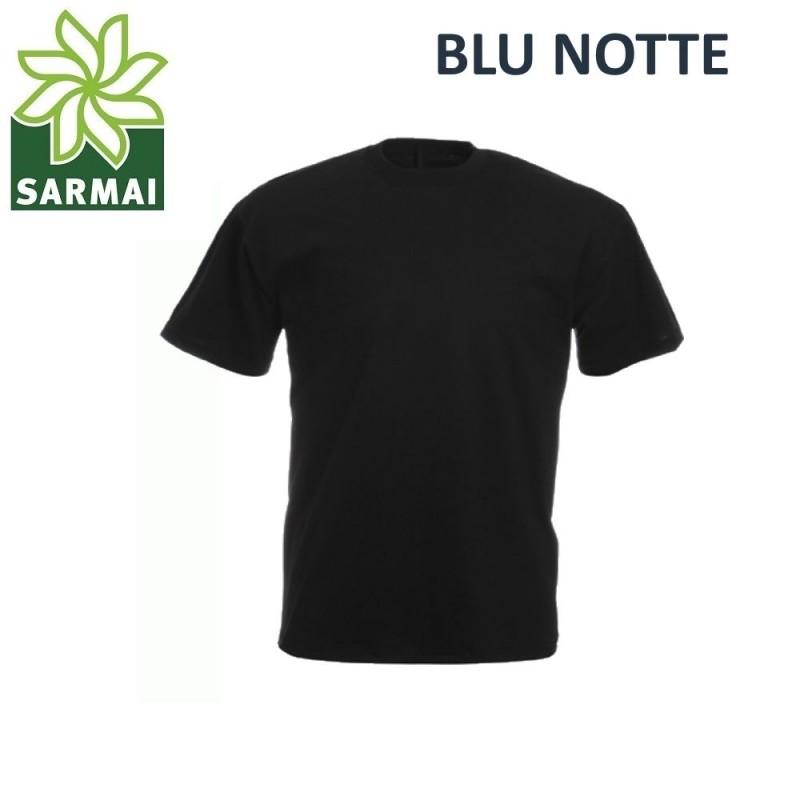 T-shirt Uomo 100% cotone S M L XL XXL Maglia manica Corta da lavoro blu notte