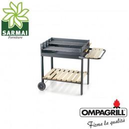Barbecue a carbone con doppia griglia acciaio bbq grande 70 x 45 a carbonella