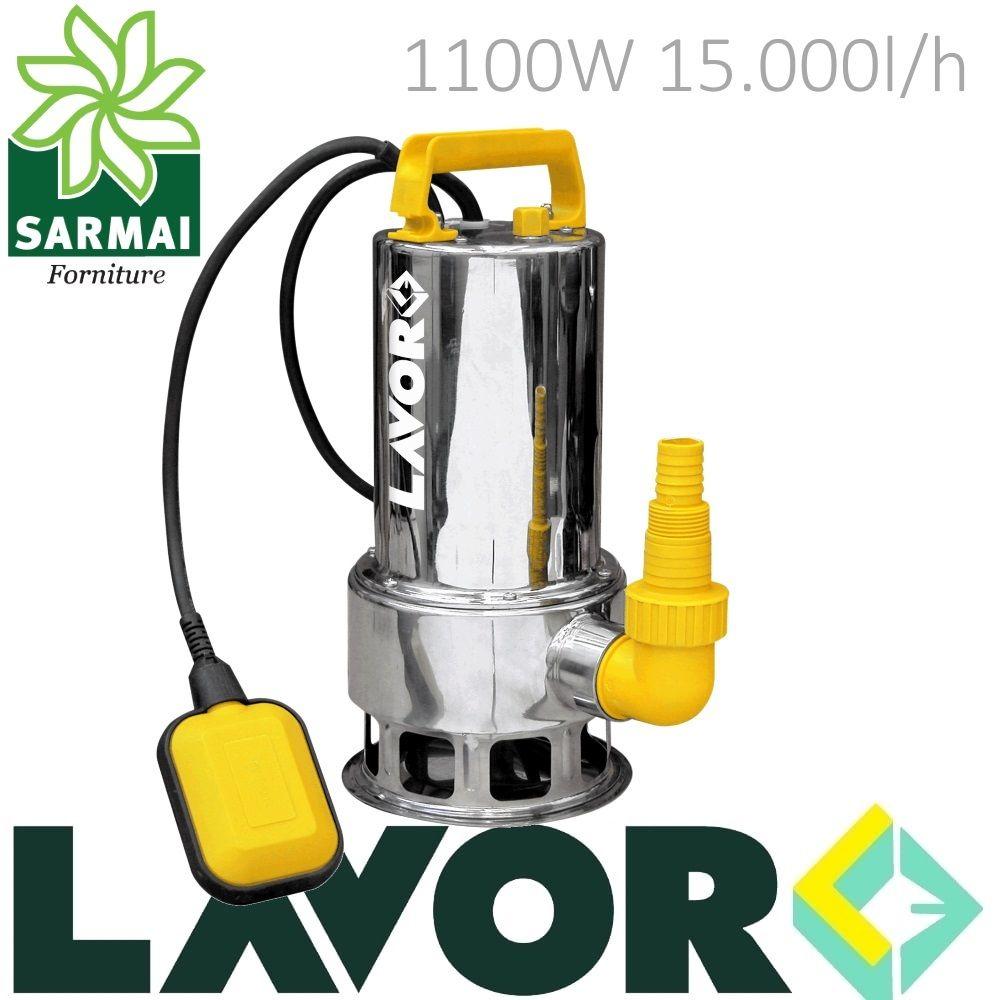 Pompa Sommersa HP 1,5 Elettropompa acciaio inox 1100W per fogna acque sporche 8m