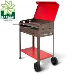 BARBECUE GRIGLIA A CARBONE BBQ COPERCHIO 2 RUOTE CARBONELLA GIARDINO 35x49xH85