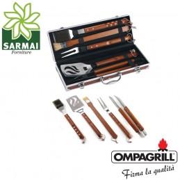 Set kit accessori 5 pz griglia barbecue BBQ attrezzi inox legno con valigetta