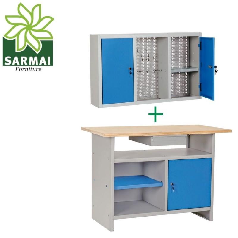 Banco da lavoro con piano in legno più armadio pensile portautensili più omaggio
