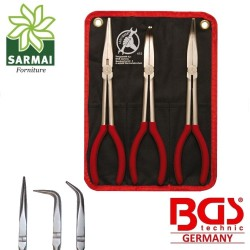 Tris kit pinze extra lunghe lunghissime 280 mm becco dritto curvo 45°90° BGS 415
