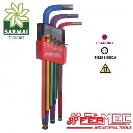 Serie 9 chiavi colorate FERMEC 32519 esagonali brugola con magnete da 1,5-10 mm