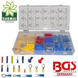 Assortimento 160 CAPICORDA ISOLATI fili elettrici spine prese anelli BGS 14105