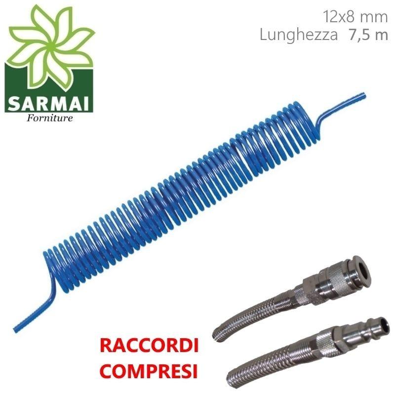TUBO POLIURETANO 12x8 7,5 M COMPRESSORE ARIA COMPRESSA SPIRALE CODOLO + RACCORDI