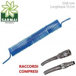 TUBO POLIURETANO 12x8 12,5 m COMPRESSORE ARIA COMPRESSA SPIRALE CODOLO RACCORDI