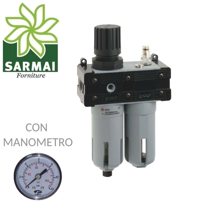 """Gruppo FRL 1/4"""" Compressore Aria Riduttore Regolatore + Filtro + Lubrificatore"""
