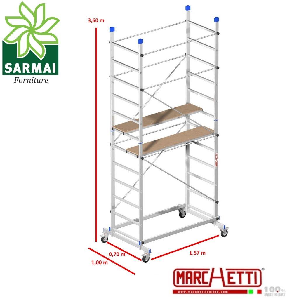 Trabattello alluminio Marchetti ZEUS Impalcatura ponteggio H. 3,6 m