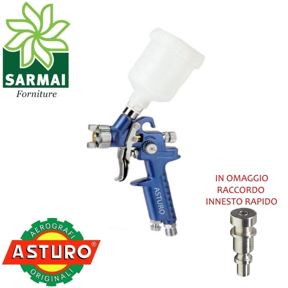 Mini Aerografo H-2000 ASTURO pistola HVLP aria verniciatura verniciare Ø 1,0 0,8