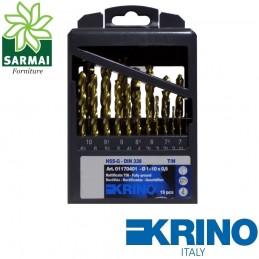 KRINO Serie assortimento 19 punte HSS-G rivestite al TITANIO custodia in metallo