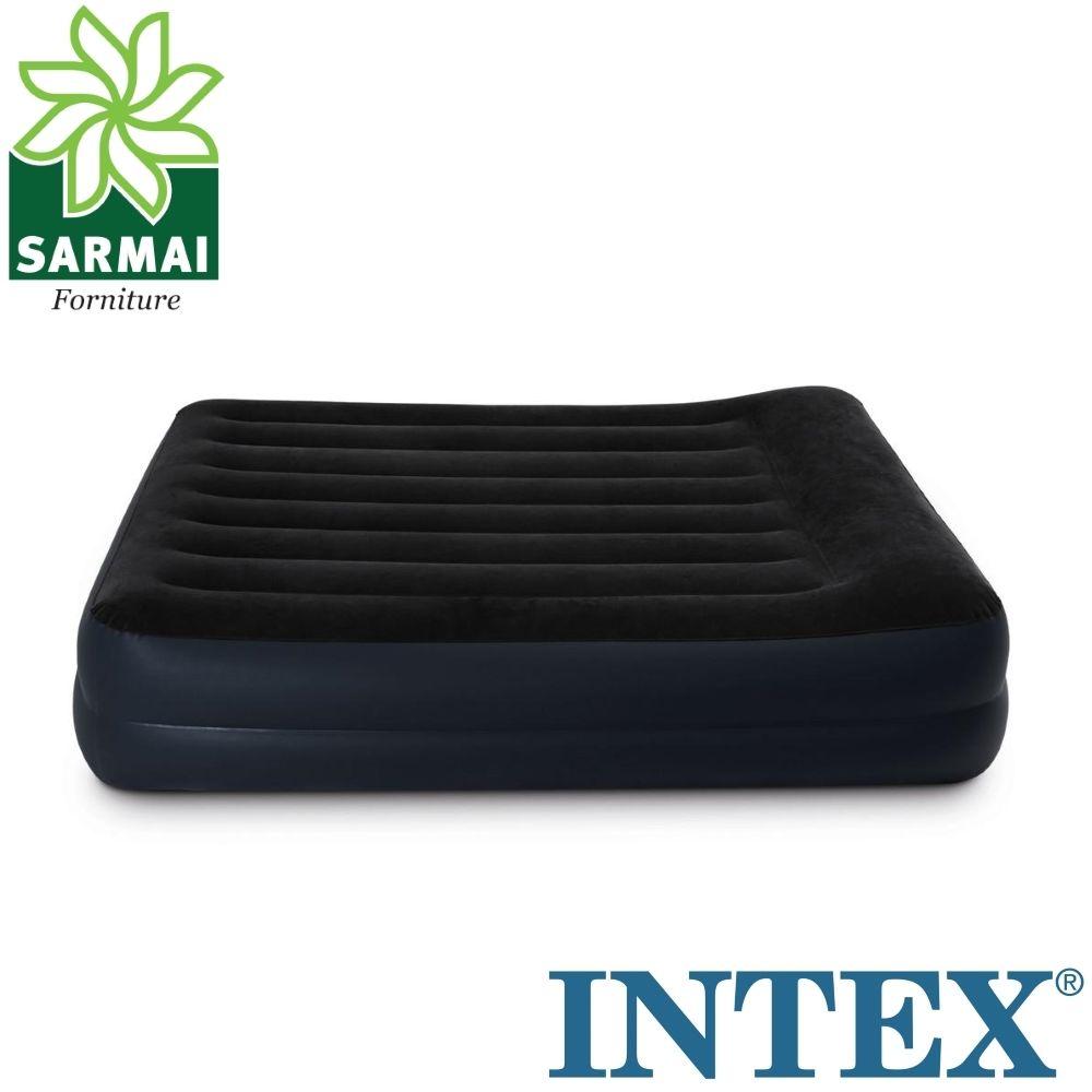 Intex 64124 Materasso letto matrimoniale gonfiabile ospiti con pompa elettrica