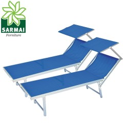 2 Lettini Prendisole Sdraio Alluminio Piscina Mare Spiaggia Giardino parasole