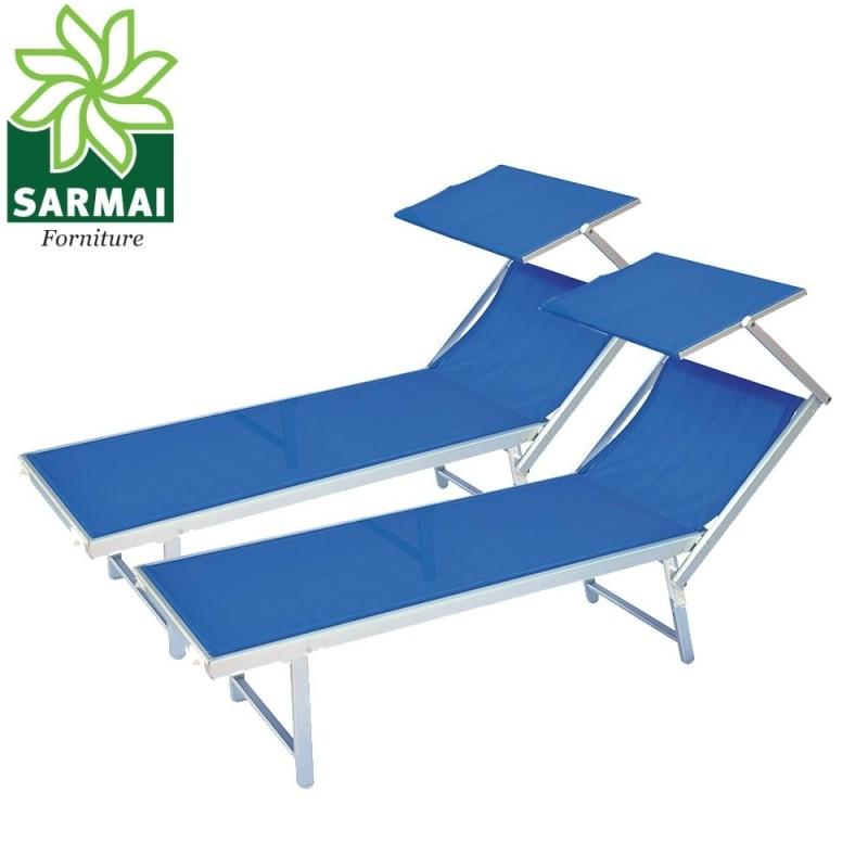 Sdraio E Lettini Prendisole.2 Lettini Prendisole Sdraio Alluminio Piscina Mare Spiaggia Giardino Parasole