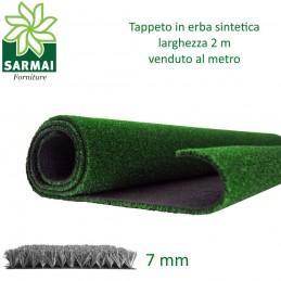 Prato sintetico 7 mm erba finta artificiale calpestabile tappeto verde larg. 2 m