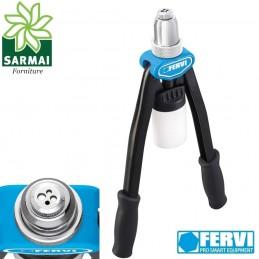 Rivettatrice doppia leva FERVI testina rotante cambio rapido rivetti 3,2 a 6,4