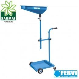 Carrello per raccolta cambio olio fluidi senza serbatoio con rubinetto e ruote