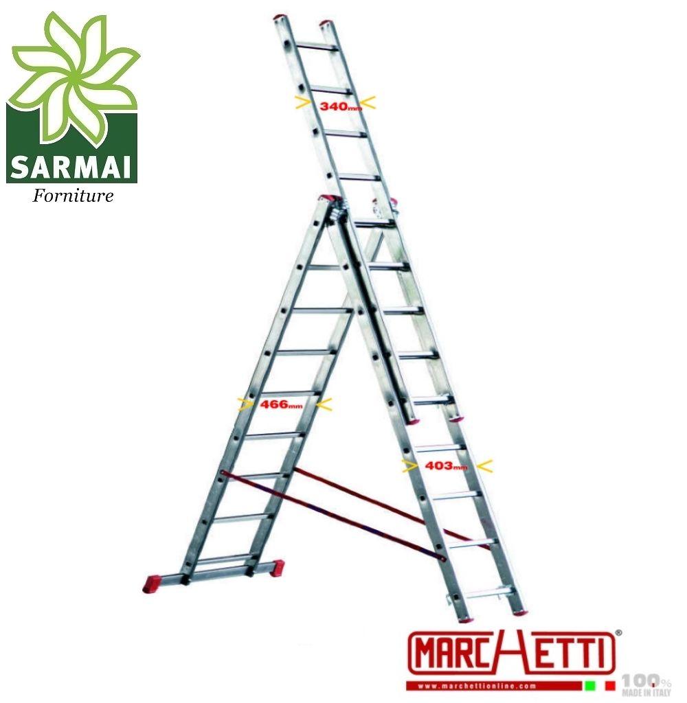 Scala TRASFORMABILE a sfilo alluminio MARCHETTI 3 elementi 9+9+9 piolo 28 cm