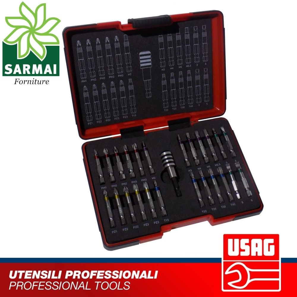 USAG 664 S25 1/4 ASSORTIMENTO 25 pz INSERTI LUNGHI 50 MM + PORTAINSERTI