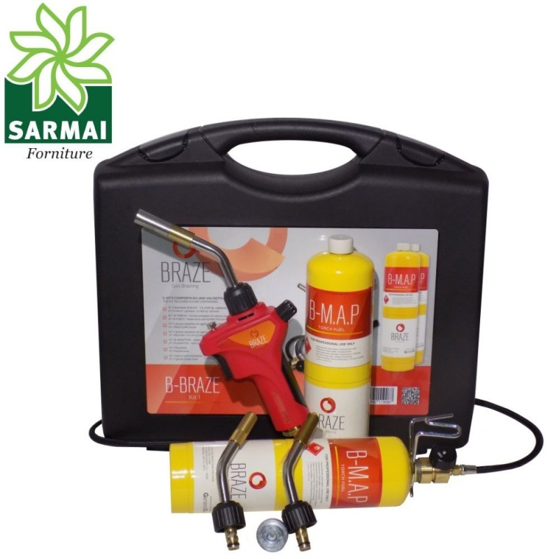 Kit Cannello brasatura saldobrasatura con 2 bombole gas saldatura rame stagno