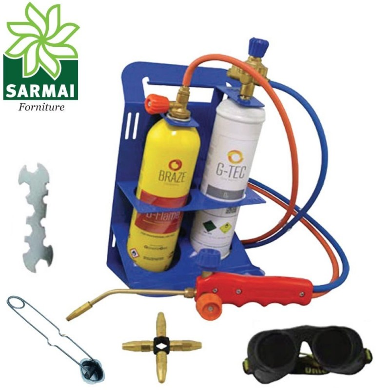 Kit cannello portatile saldatura bombole gas ossigeno autogena brasatura