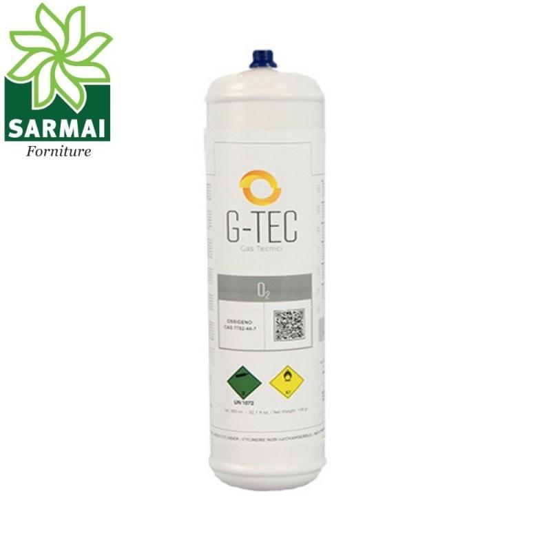 Bombola usa e getta monouso gas Ossigeno O2 110 bar 0,950 lt 147 gr cartuccia