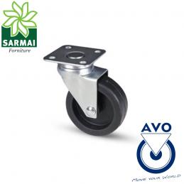 Ruota AVO 220 50x18 rivestimento in gomma nucleo plastica con supporto girevole