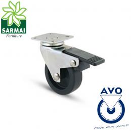 Ruota AVO 220BIS 50x18 rivestimento in gomma nucleo plastica girevole con freno
