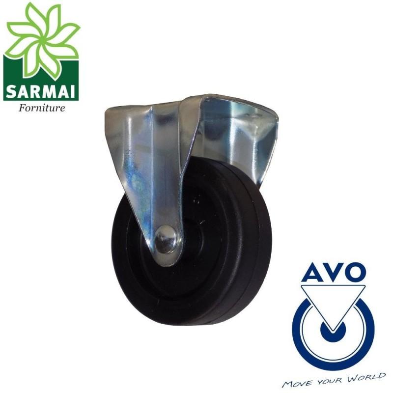 Ruota AVO 220H 50x18 rivestimento in gomma nucleo plastica con supporto fisso