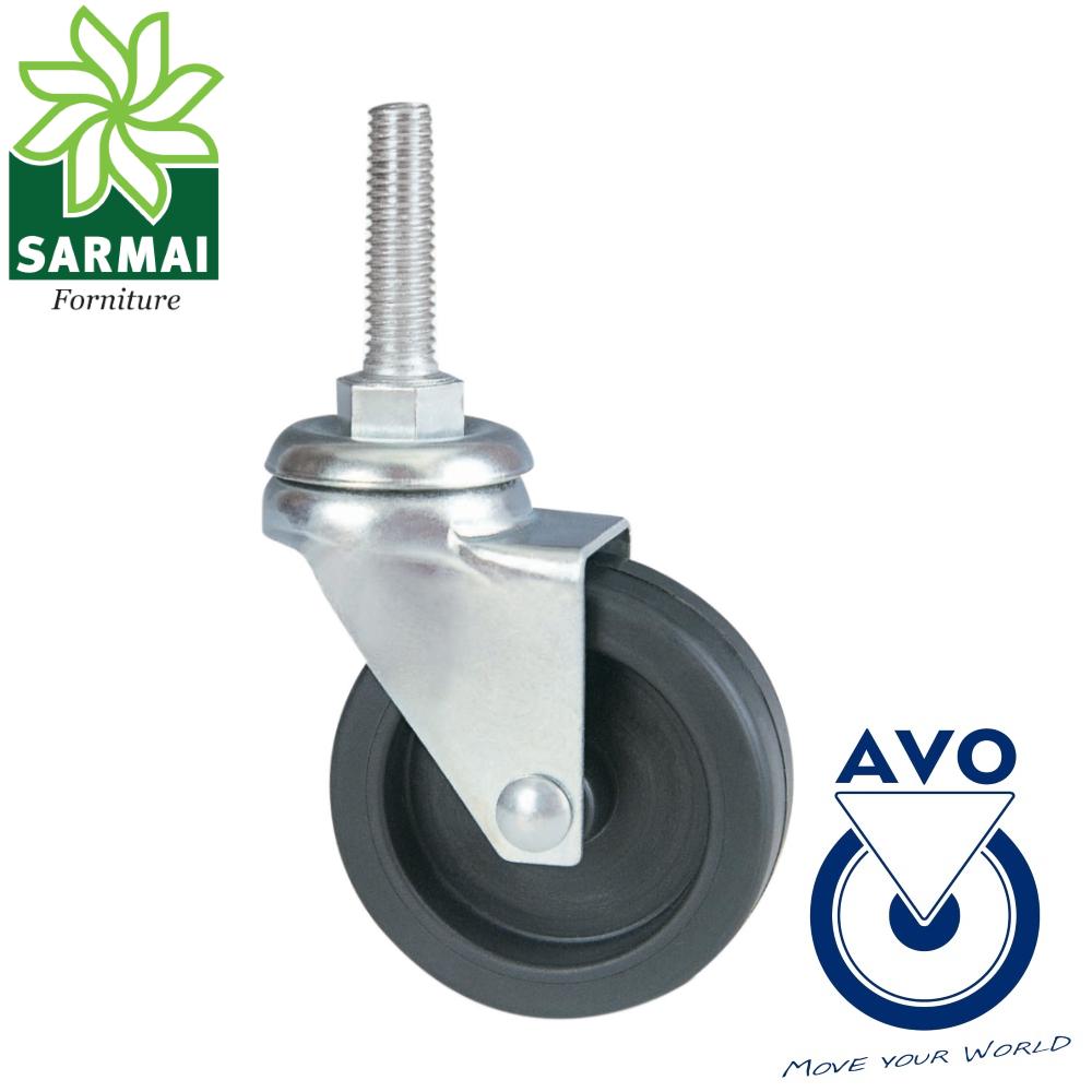 Ruota AVO 220B 50x18 rivestimento gomma nucleo plastica girevole con bullone M10
