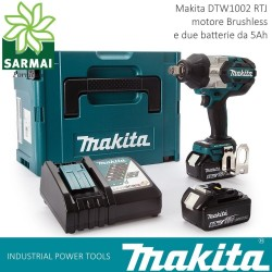 "MAKITA DTW 1002 RTJ AVVITATORE AD IMPULSI 1/2"" 1000 Nm 2 BATTERIE LITIO 18V 5Ah"