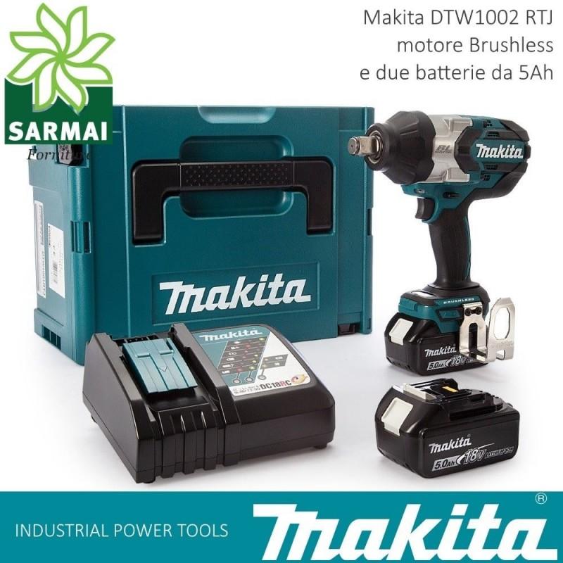 "MAKITA DTW 1002 RTJ AVVITATORE AD IMPULSI 1/2"" 1000 Nm 2 BATTERIE LITIO 18V 5Ah"