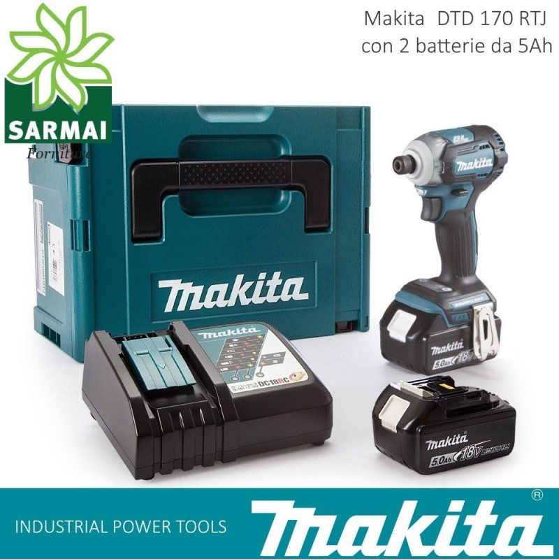 "MAKITA DTD170 RTJ AVVITATORE AD IMPULSI 1/4"" 175 Nm 2 BATTERIE LITIO 18V 5Ah"