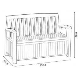 Keter Patio Bench panchina baule cassapanca esterno in resina effetto legno 260L
