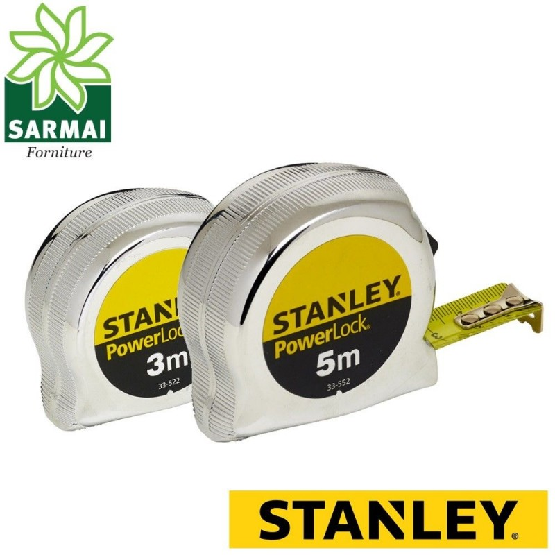 Flessometro STANLEY POWER LOCK metro rullina con gancio 3 - 5 metri cromato