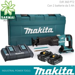 MAKITA DJR 360 PT2 SEGHETTO DRITTO BRUSHLESS 36V 2 BATTERIE LITIO 5Ah + LAME