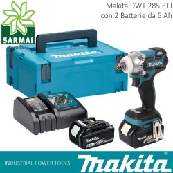 "MAKITA DTW 285 RTJ AVVITATORE AD IMPULSI 1/2"" 280 Nm 2 BATTERIE LITIO 18V 5Ah"