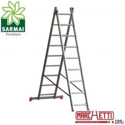 Scala TRASFORMABILE a sfilo alluminio MARCHETTI 2 elementi tronchi 11+11 5,40 m