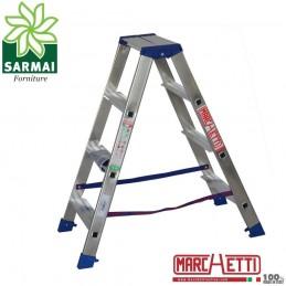 Marchetti GAUDI scala scaletto alluminio doppia salita 4 gradini altezza 1 m